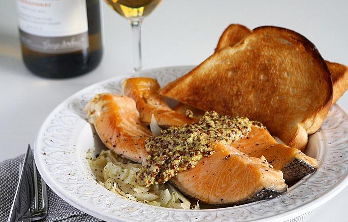 【ぐっちのおさけじかん】Vol.20 鮭とキャベツの粒マスタードソース