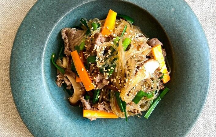 【からだケアレシピ】貧血に「牛肉とニラ、にんじんの簡単チャプチェ」