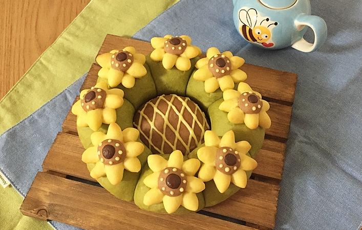 夏の花ひまわりの「#ちぎりパン」作っちゃいます。断面は #萌え断 も!